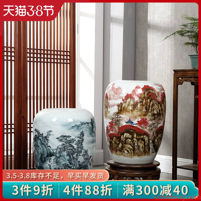 Jingdezhen hand - made landscape ceramic floor large vases, vats Chinese sitting room porch villa decorations furnishing articles