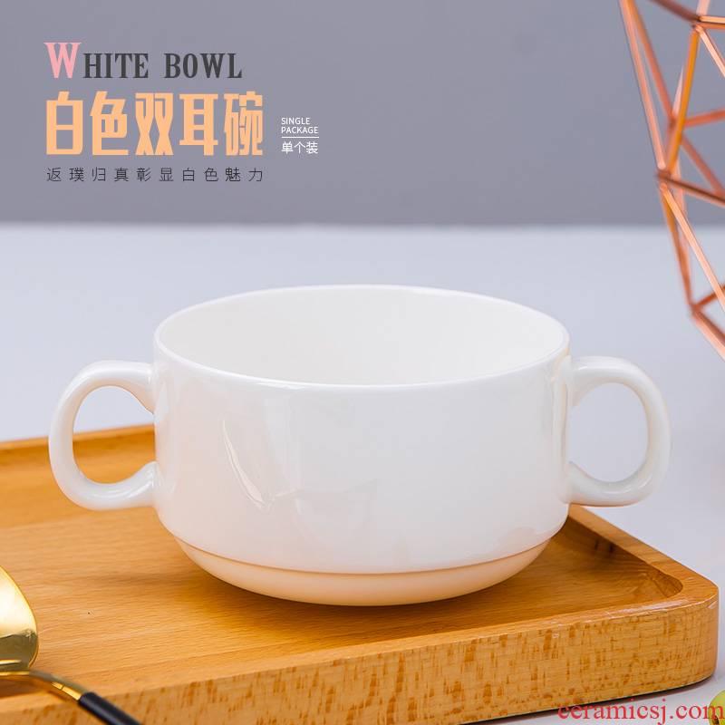 Pure white ipads porcelain jingdezhen west tableware ceramic bowl ears ROM song soup bowl of salad bowl of soup bowl