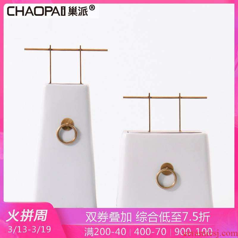 New Chinese style zen ceramic display porch place indoor exhibition hall, a copper ring process works home sitting room small ornament