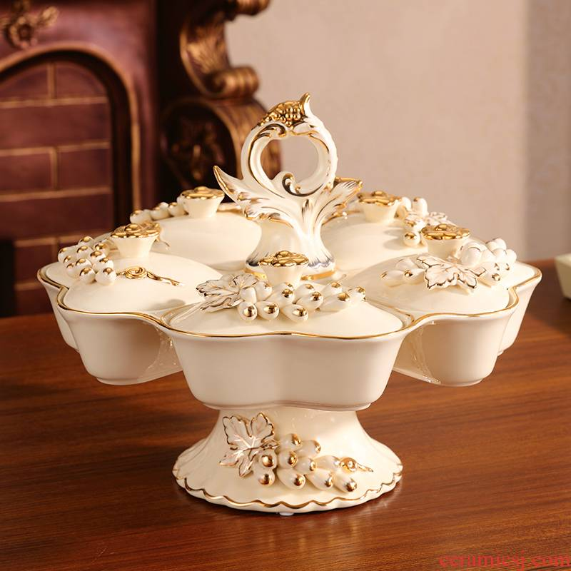 Key-2 Luxury European - style fruit bowl high - grade ceramic creative spin dry fruit tray frame with cover home sitting room tea table furnishing articles