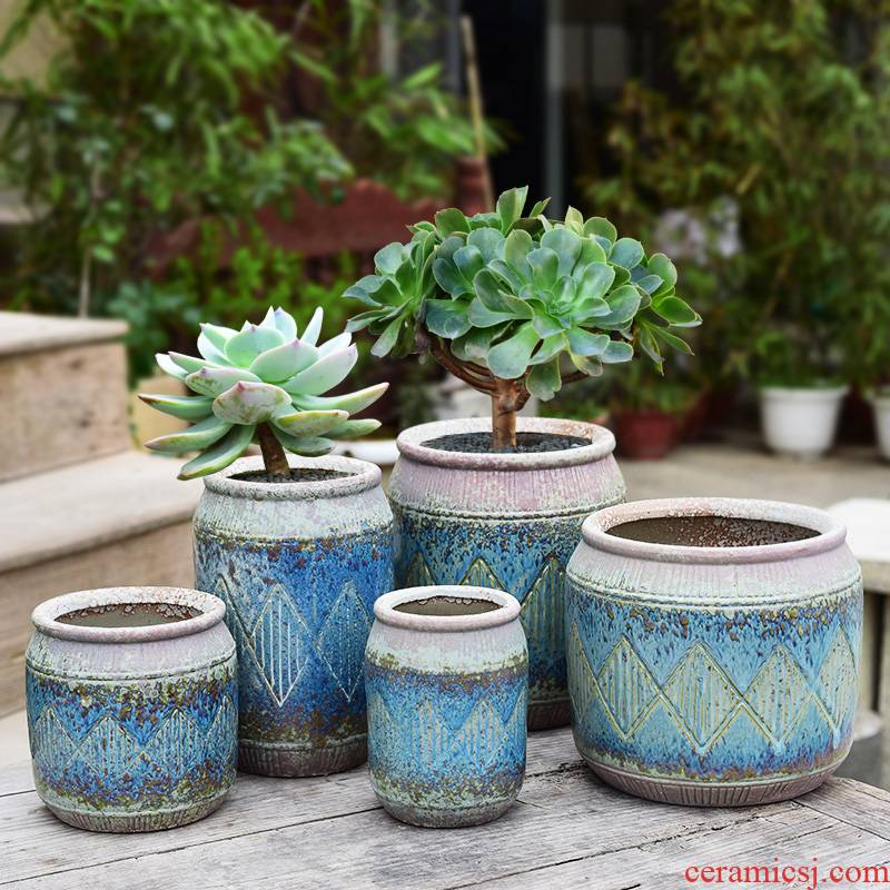 Complex ceramic coarse pottery basin of breathable, tall ancient running the fleshy plant creative household balcony fleshy mage flowerpot