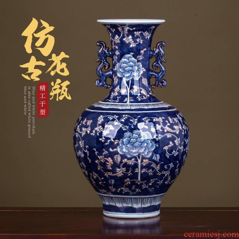 Jingdezhen ceramics hand - made ears blue and white porcelain vases, flower arrangement antique Chinese TV ark place, a large living room