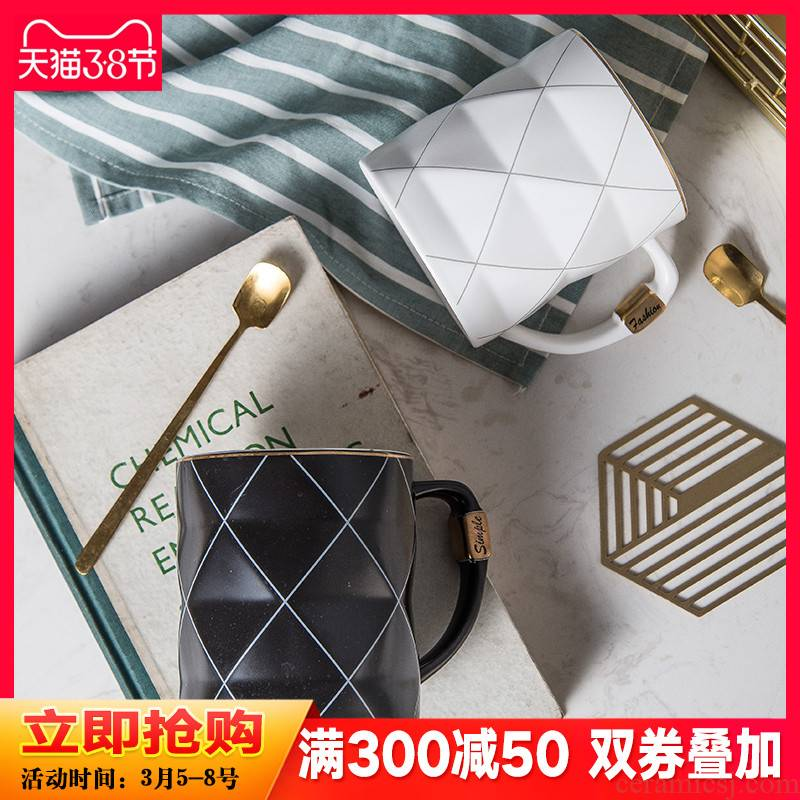 The code mark cup creative move trend of household ceramic cup lovers ultimately responds cup Nordic coffee cup set