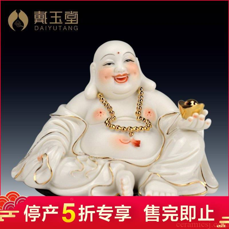 Dehua white porcelain ceramic production 5 fold 】 【 pot - bellied primer wing maitreya buddhist in jewelry/see colour