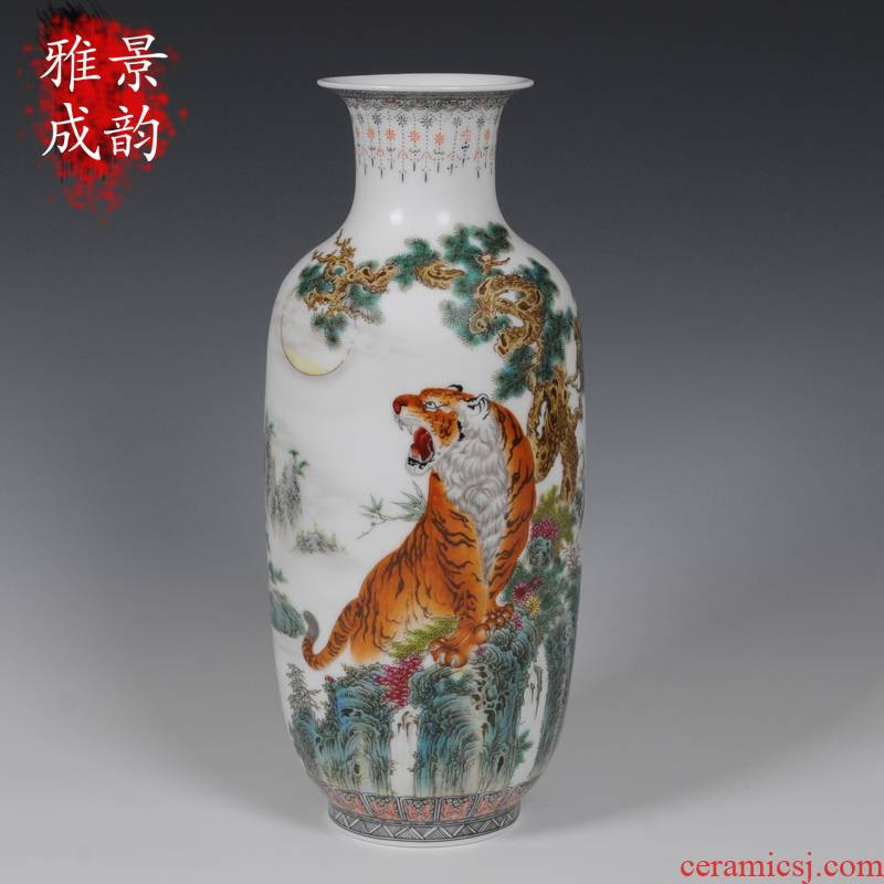 The Master of jingdezhen ceramics hand - made famille rose porcelain vase tiger fashion household adornment handicraft furnishing articles