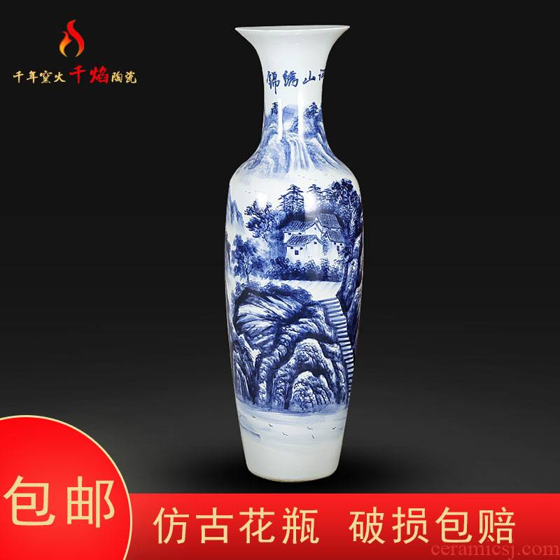 Blue and white porcelain of jingdezhen ceramics vase of large sitting room the opened flower arranging hotel furnishing articles hand - made bright future
