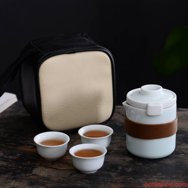 Kung fu tea set simple portable celadon travel package crack cup a pot of 2 cup is suing filtering cup suit the teapot