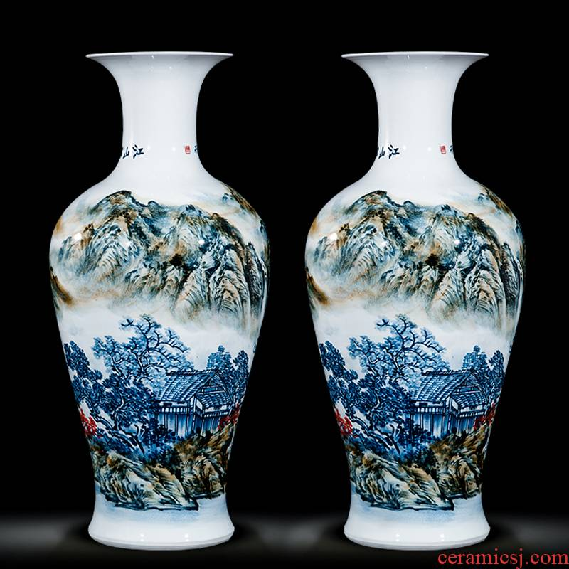 Jingdezhen ceramics celebrity hand - made the master of landscape painting landing large vases, home sitting room adornment is placed