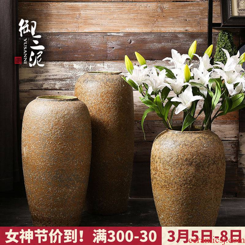 Royal three mud manual coarse courtyard mall flower implement ground vase earthenware pottery jar do old archaize large flower pot