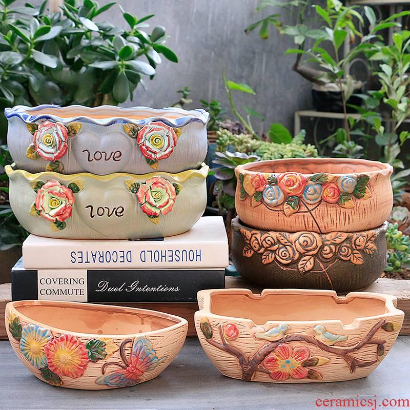 Large fleshy flowerpot ceramic big flowerpot originality of Large diameter coarse pottery flowerpot clearance meaty plant platter combination