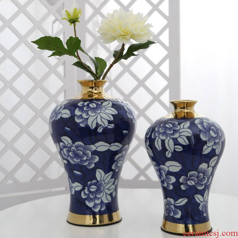 Mesa of jingdezhen ceramic vase furnishing articles sitting room flower arrangement, household adornment table decoration simulation flowers, artificial flowers