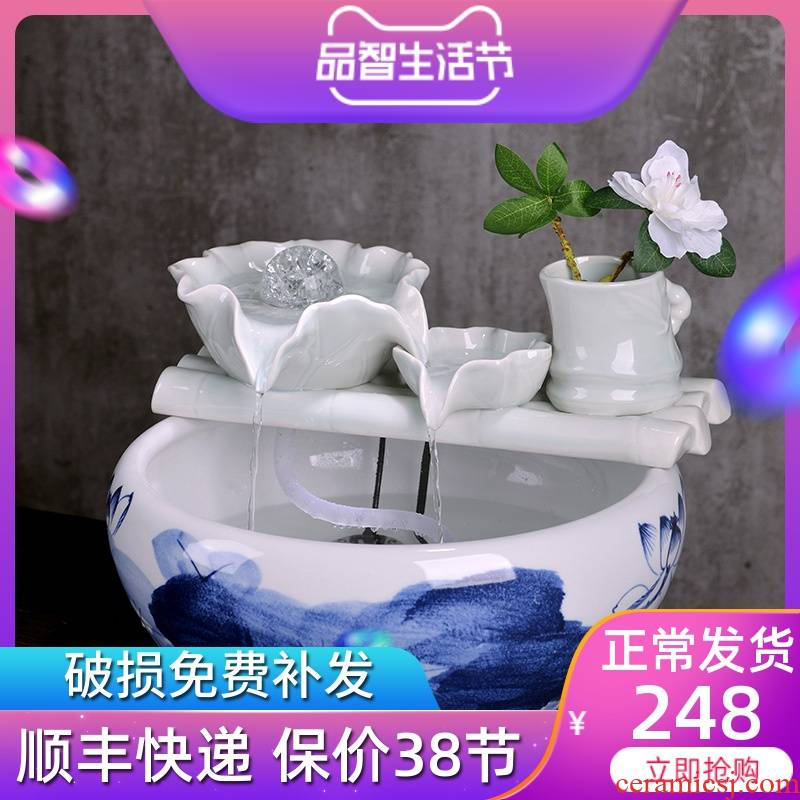 Jingdezhen creative water fountain humidifier feng shui home furnishing articles for the opening round of the sitting room office gift