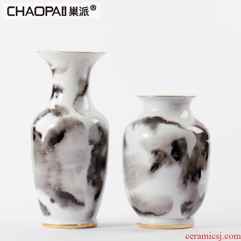 Creative new Chinese ink painting porcelain pot furnishing articles example room classical flower vase indoor furniture decoration