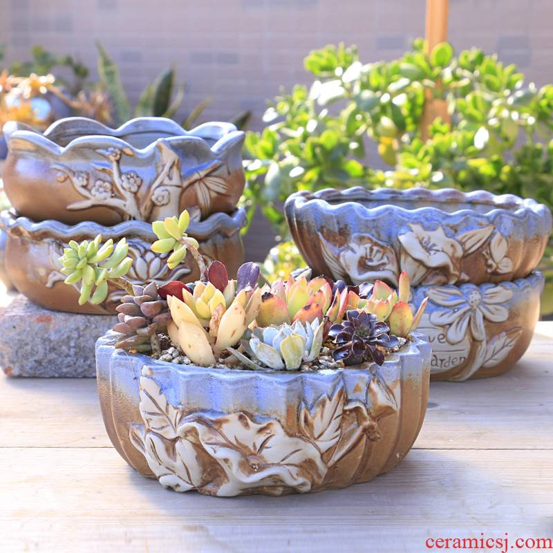 Big flowerpot contracted large caliber thick fleshy flowerpot ceramics pottery large platter combination plant a flower pot special offer a clearance