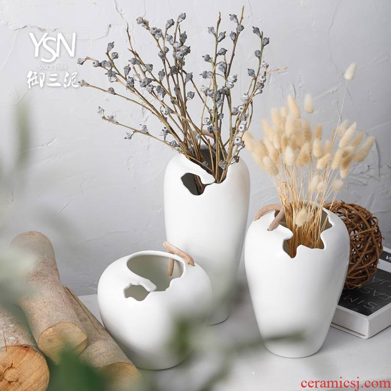 Ceramic dry flower white vase floral decoration is I and contracted sitting room creative household adornment flower arranging furnishing articles