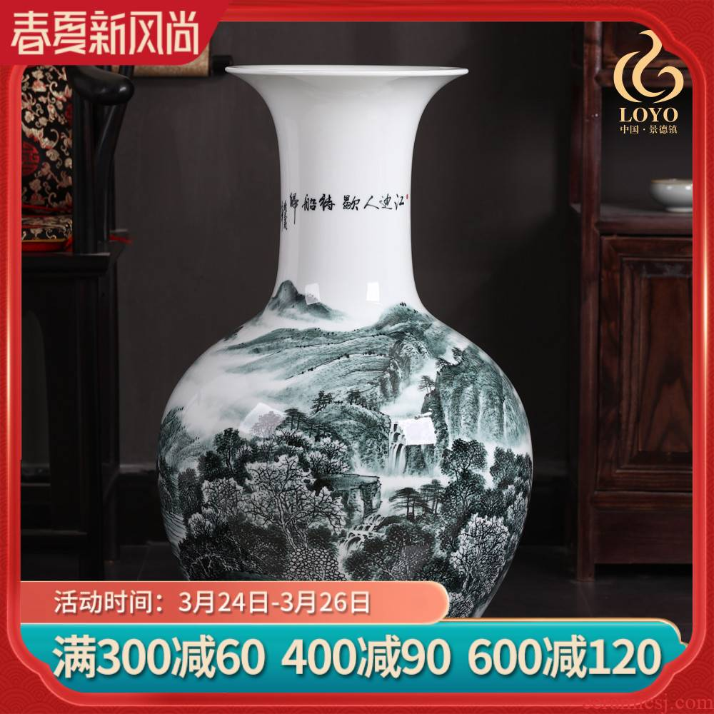 Jingdezhen ceramics penjing masters hand draw landscape design sitting room ground large vase household ornaments