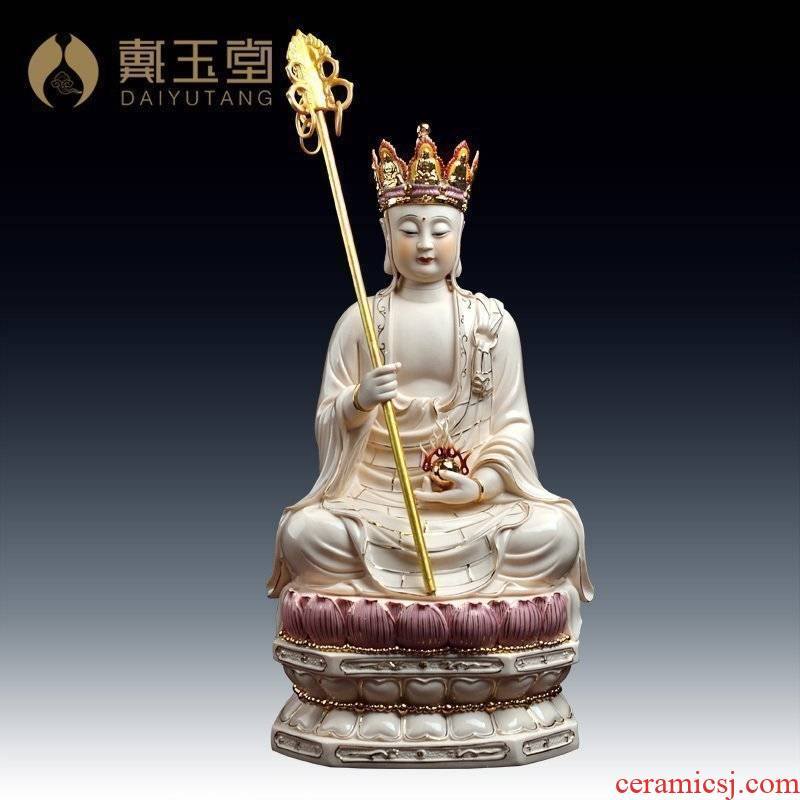Yutang dai bodhisattva retinues three holy ancient - up ceramic figure of Buddha sitting GuLian D01 earth treasure bodhisattva - 387