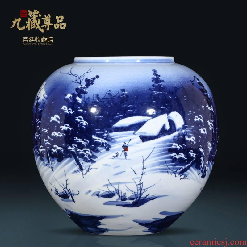 Jingdezhen ceramic masters Chinese hand - made snow of blue and white porcelain jar sitting room porch TV ark, vase furnishing articles