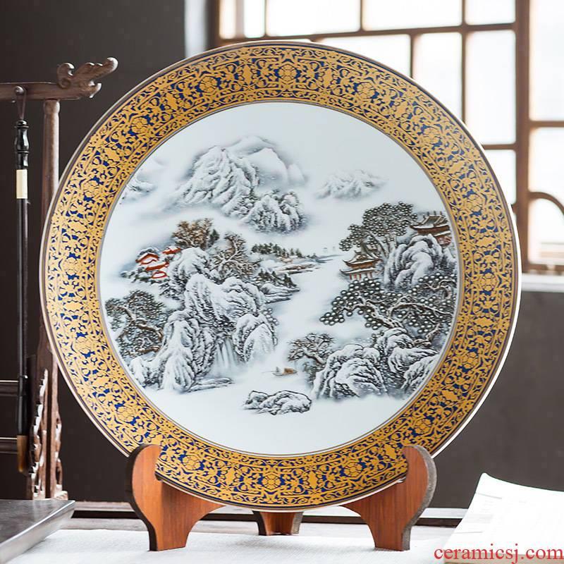Jingdezhen ceramics furnishing articles hanging dish home decoration crafts wine sitting room porch large decorative plate