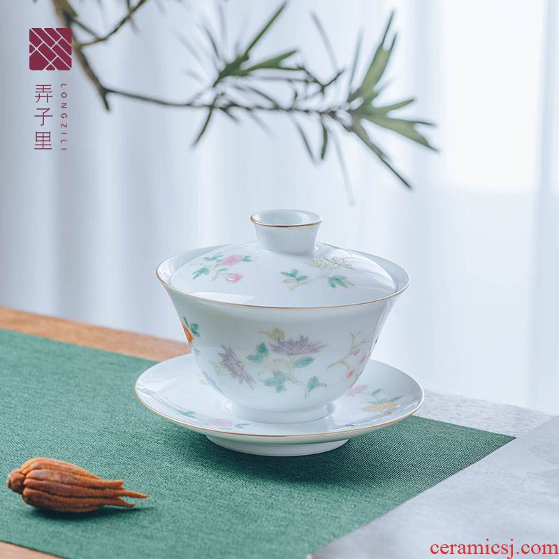 Get in tureen three to make tea tureen jingdezhen household thin foetus hand - made floral fragrant tea tureen large size