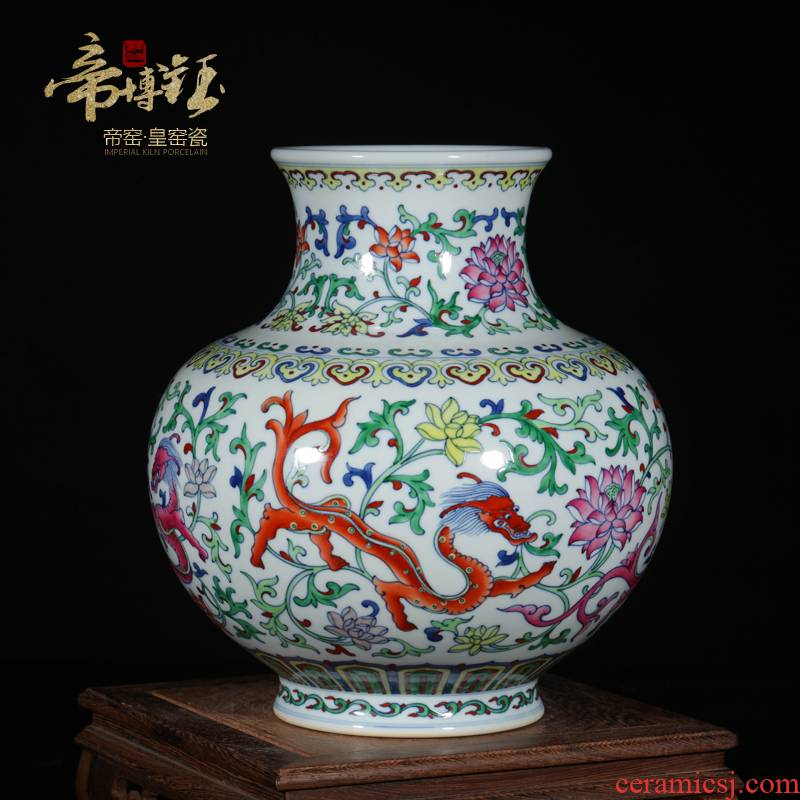 Antique hand - made porcelain of jingdezhen ceramics bucket color dragon in the ocean 's day bottles of the sitting room porch decoration furnishing articles