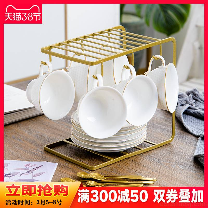 European ceramic coffee cups and saucers suit small exquisite key-2 luxury household contracted coffee set English afternoon camellia tea cups