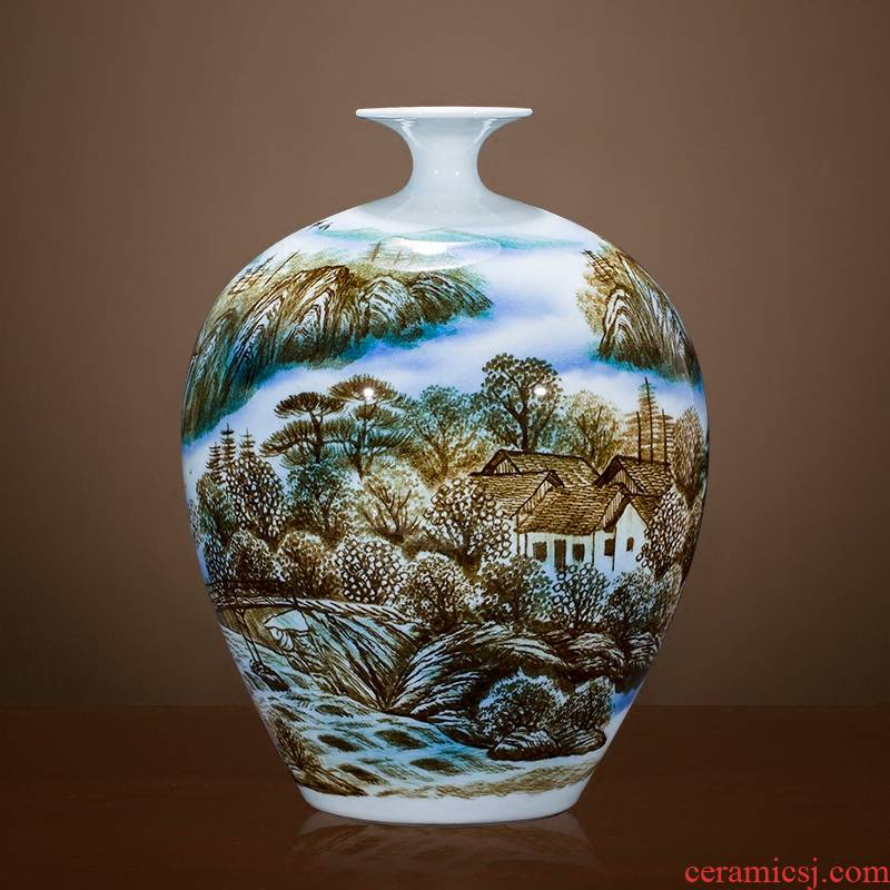 Famous master of jingdezhen ceramics hand - made vases sitting room adornment is placed Chinese landscape painting porch decoration