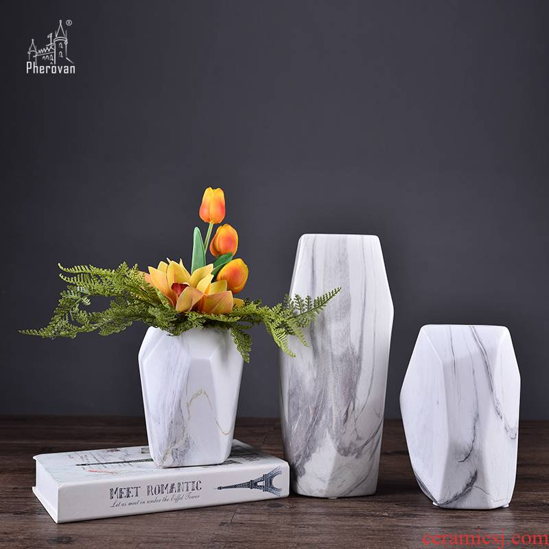 Creative geometric marble ceramic porcelain vase TV ark, example room porch household decorative furnishing articles arranging flowers