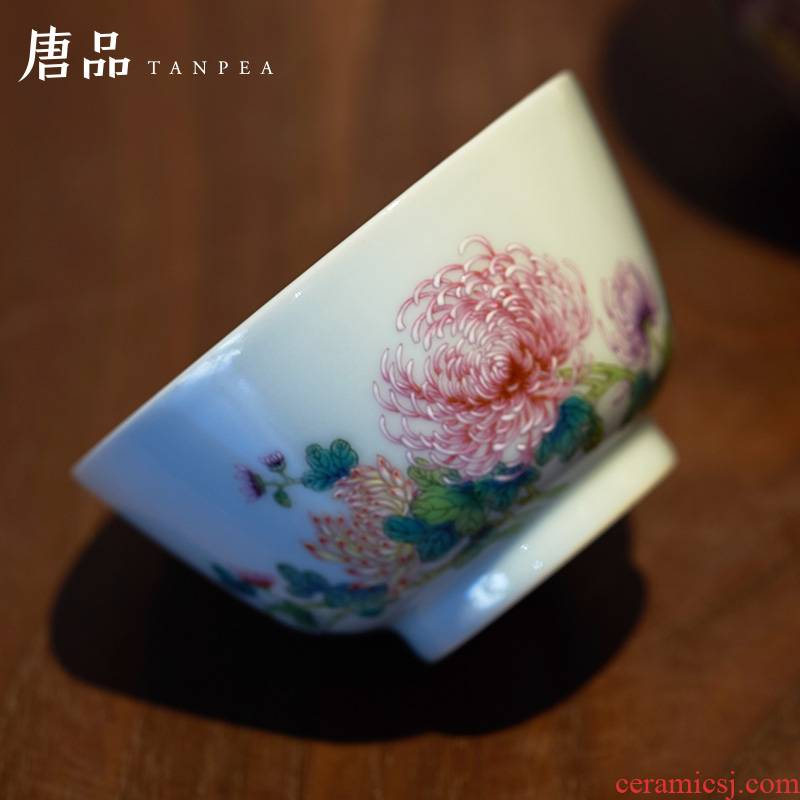 Pastel by tea cups of jingdezhen ceramic cup personal Lord single hand - made flowers kung fu tea pu 'er tea cup
