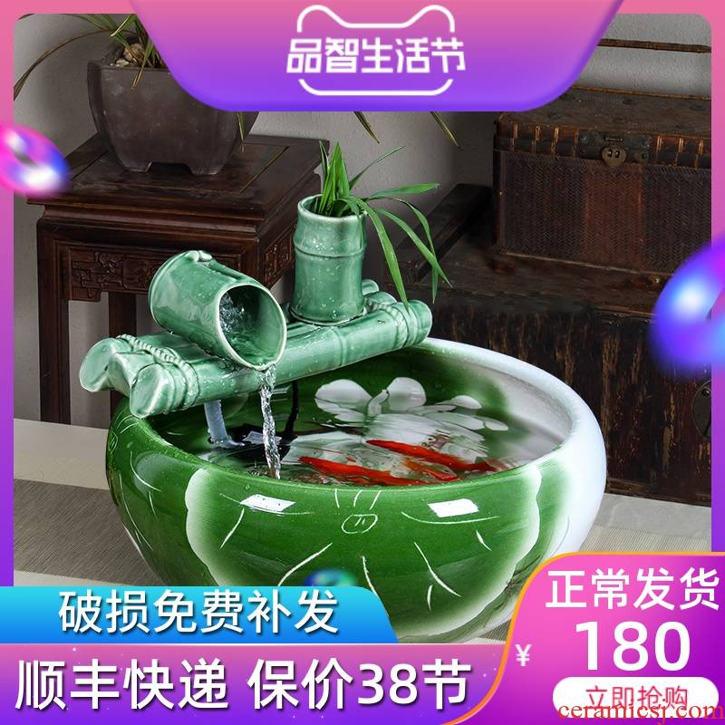 Jingdezhen ceramic furnishing articles of small water fountain household humidifier desktop sitting room aquarium fish bowl