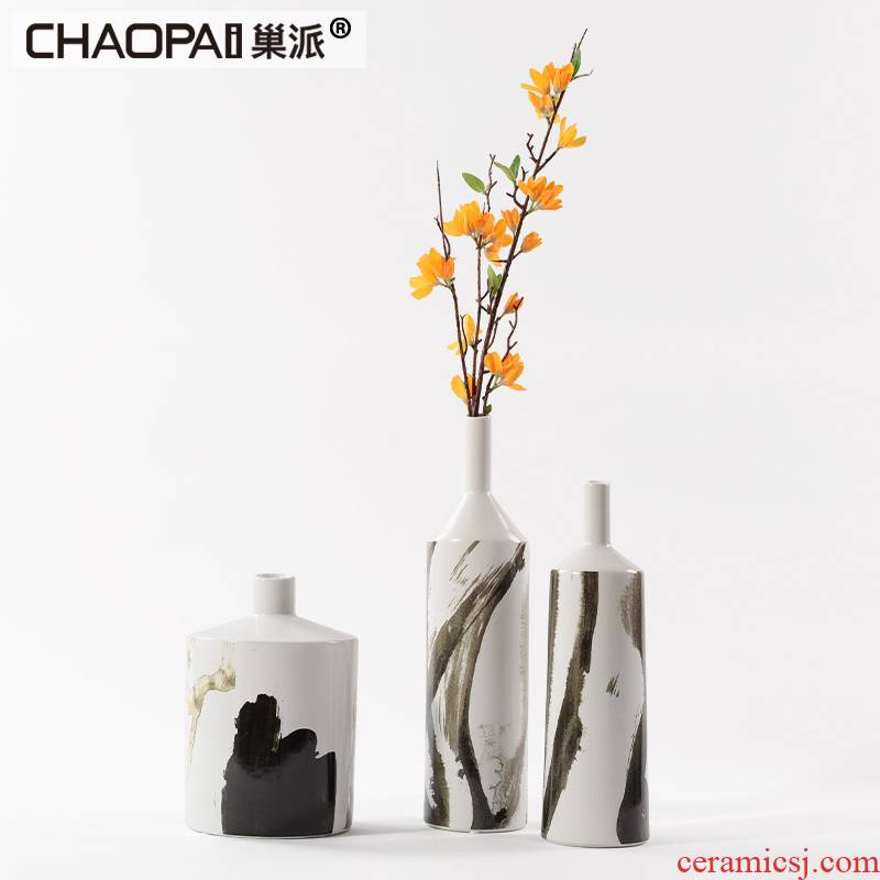 The New Chinese ink painting ceramic fine expressions using flower vase sample villa clubhouse sitting room porch shoe counter crispy noodles, furnishing articles