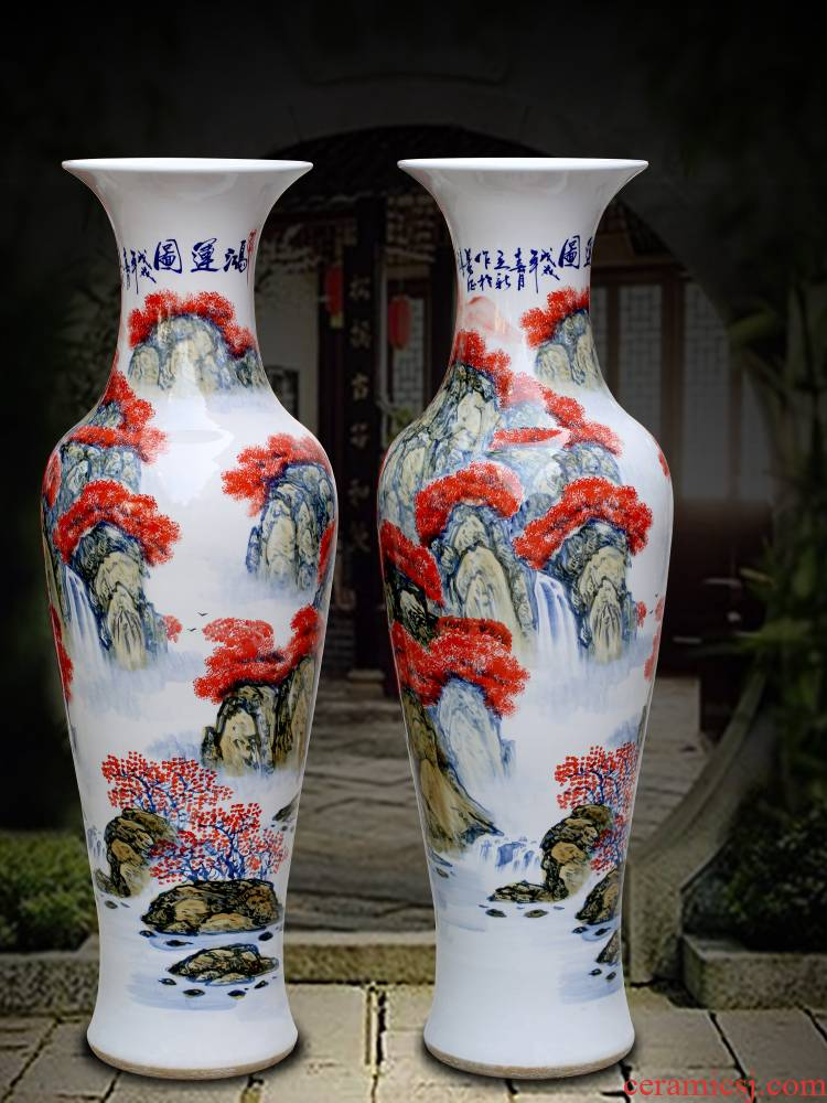 Jingdezhen ceramic figure landscape hand - made bonanza of large vases, sitting room of Chinese style household furnishing articles for opening gifts