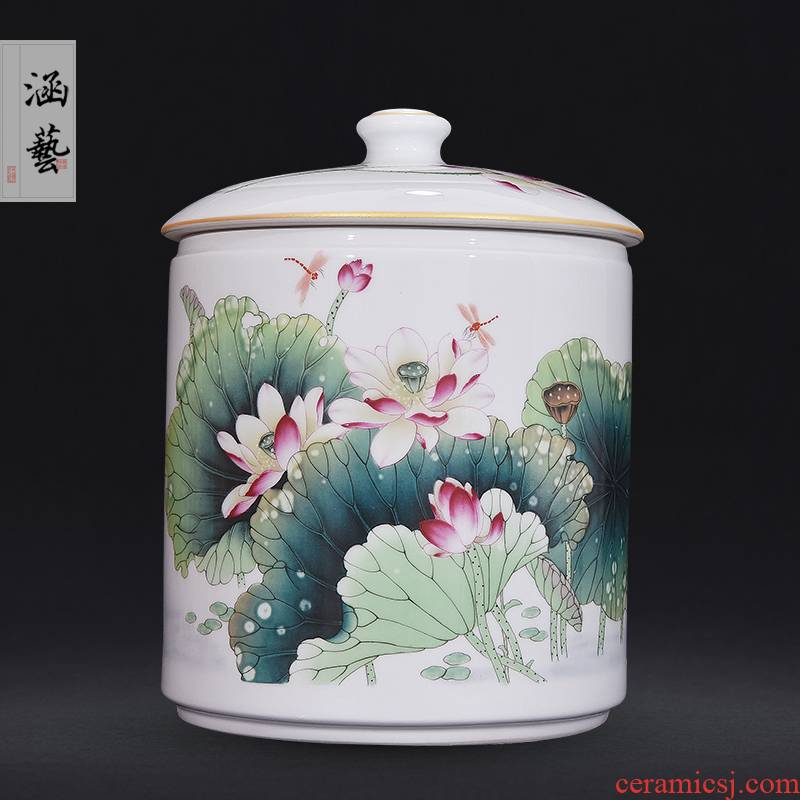 Jingdezhen ceramic powder enamel pot of fragrant lotus straight classical Chinese style living room home decoration caddy fixings furnishing articles craft gift