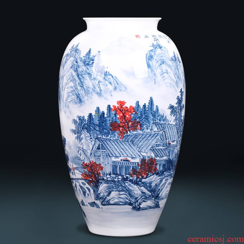 Jingdezhen ceramics by hand draw large blue and white porcelain vase flower arranging new Chinese style sitting room adornment is placed
