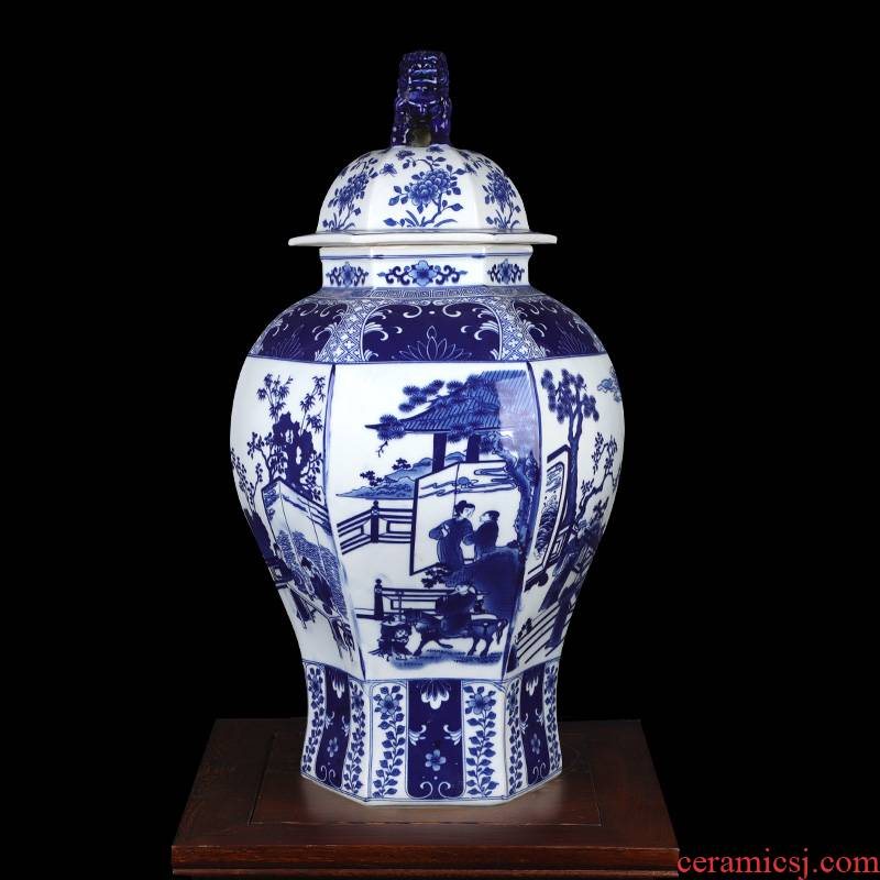 The New Chinese blue and white porcelain ceramic vases, flower arrangement sitting room example that restore ancient ways the general pot of household soft outfit the flower furnishing articles