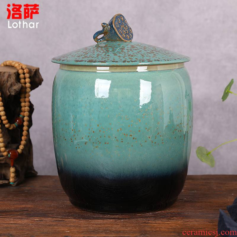 Jingdezhen ceramic barrel 20 jins 30 jins storage tank ricer box grain jar sealed tank meter box green fruit box