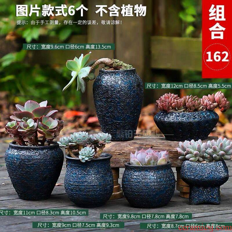 More special offer a clearance large meat meat meat flowerpot ceramics creative contracted violet arenaceous indoor the plants flower pot in move