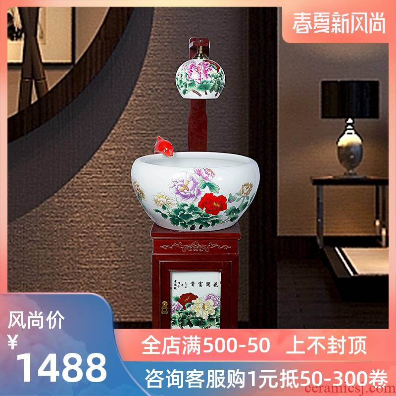 Household jingdezhen ceramic goldfish bowl loop filter - oxygen atomization goldfish bowl sitting room feng shui plutus gift porcelain