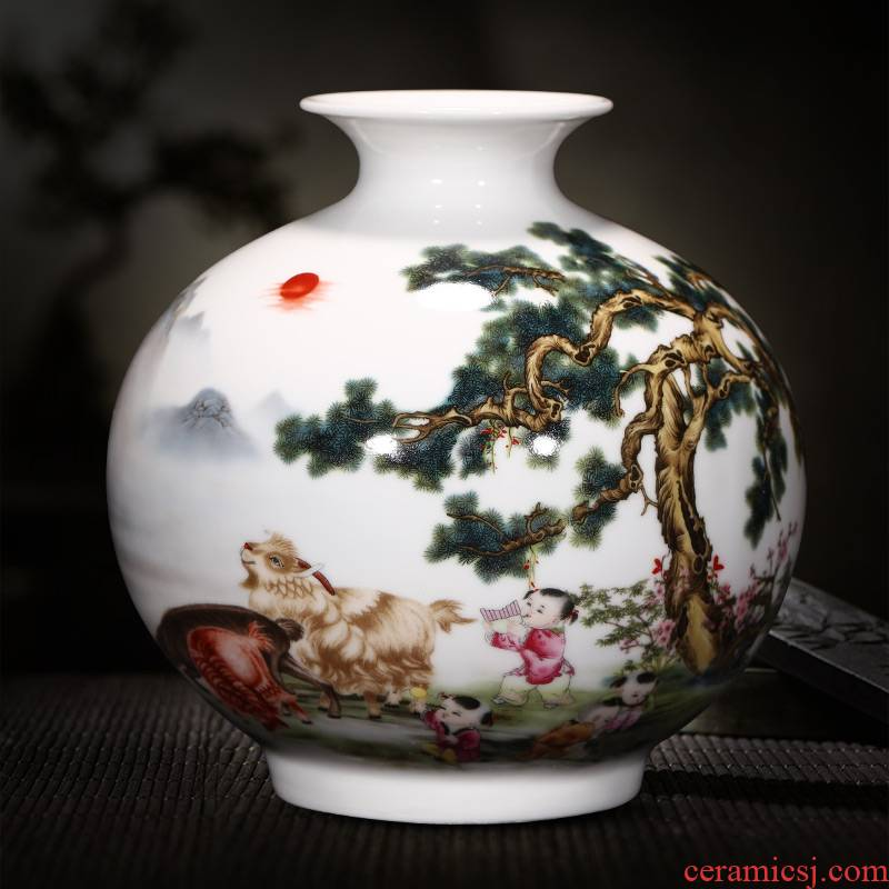 Jingdezhen ceramics vase furnishing articles sitting room flower arranging rich ancient frame of Chinese style household TV ark, decorative arts and crafts