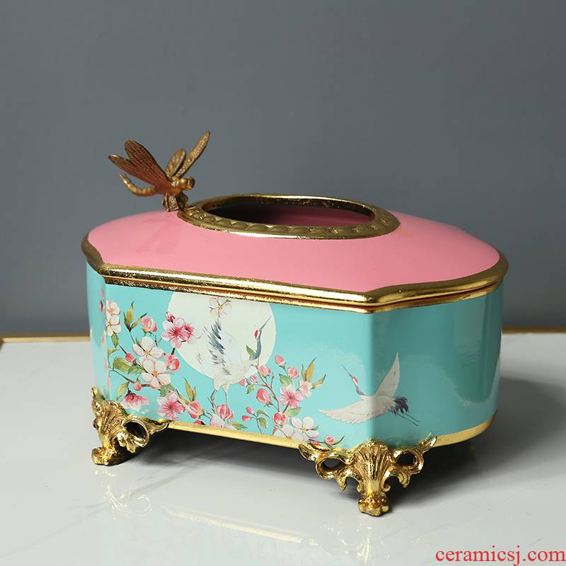 American light and decoration ceramics tissue box furnishing articles smoke box of new Chinese style household, sitting room tea table smoke box place adorn adornment paper