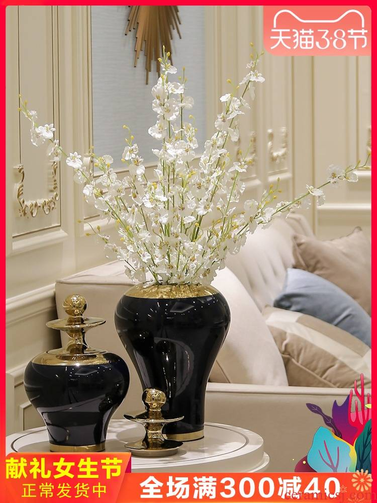 New Chinese style in modern creative general tank simulation flower vase light European - style key-2 luxury ceramic flower decoration floral decorations