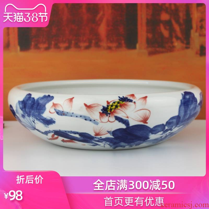 Jingdezhen ceramic hand - made aquarium water shallow basin of goldfish turtle cylinder water lily creative desktop furnishing articles household act the role ofing is tasted