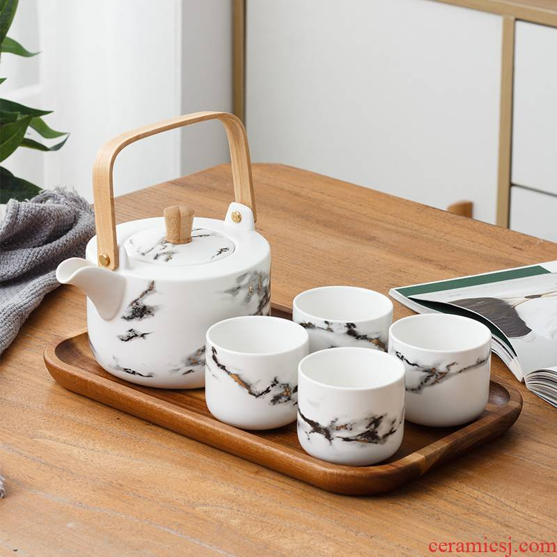 The Small Japanese ceramic tea set home sitting room is contracted teapot teacup travel a whole set of kung fu tea set