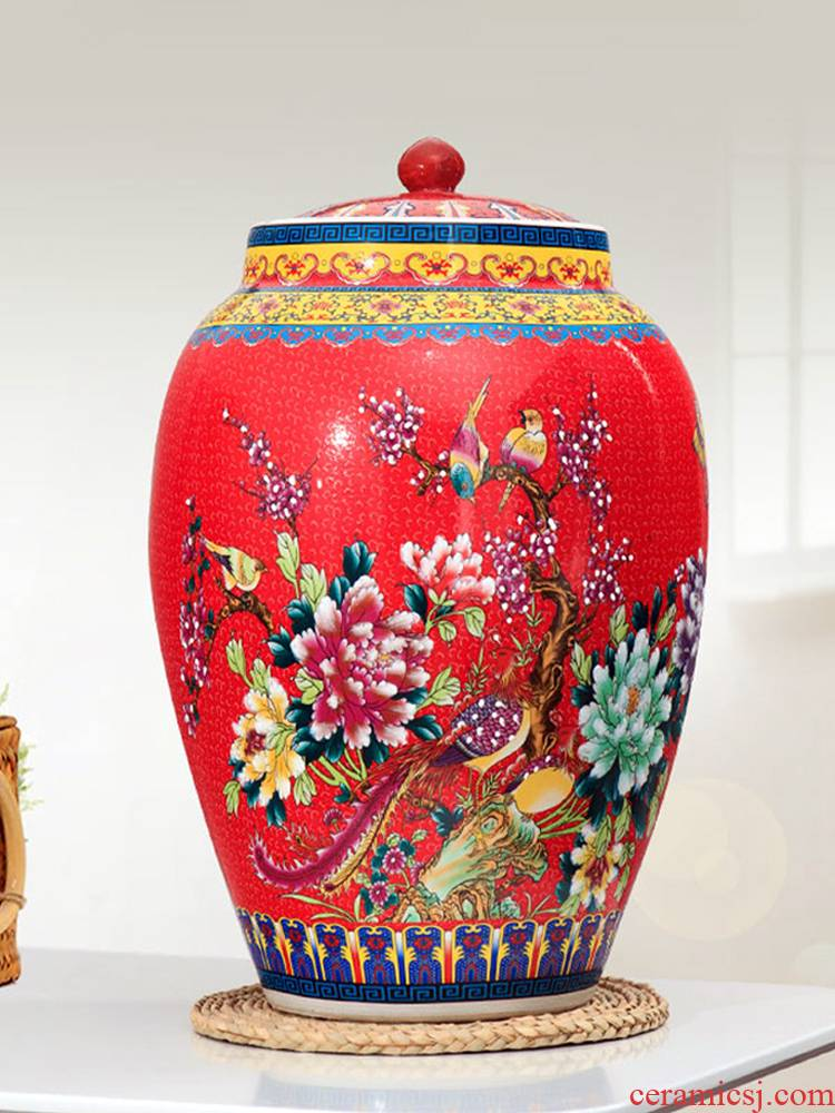 Jingdezhen barrel with cover ricer box store meter box 20 jins 30 jins 50 kg sealed ceramic household flour storage tanks