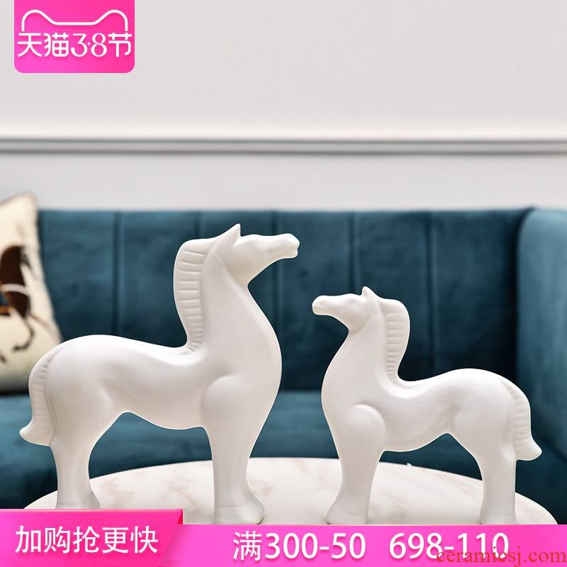 Modern fashion and contracted ceramic horse furnishing articles sitting room decoration home decoration creative arts and crafts of TV ark, wine