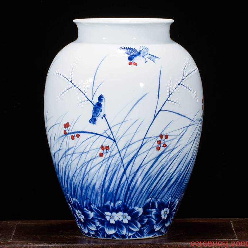 Jingdezhen ceramics landscape painting drawing big vases, flower arranging new Chinese style household act the role ofing is tasted, the sitting room porch place