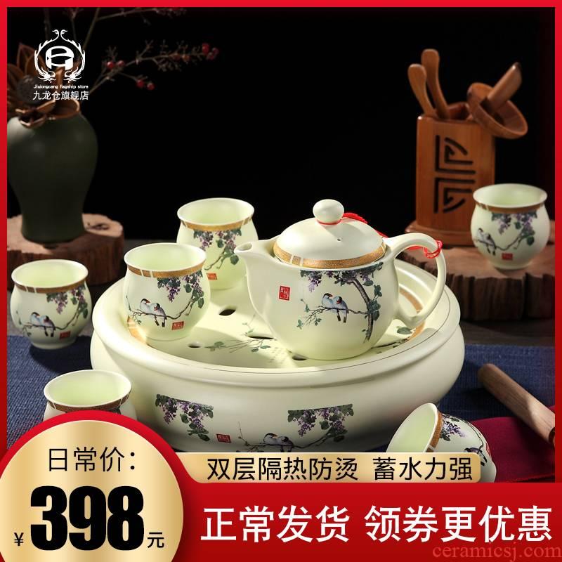 DH jingdezhen tea sets tea home your up of a complete set of heat - resisting teapot tea tray ceramic cups kung fu tea set