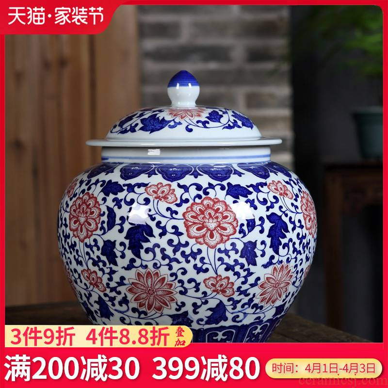 Jingdezhen ceramics POTS antique blue and white porcelain tea storage tank kitchen furnishing articles of Chinese style living room decoration