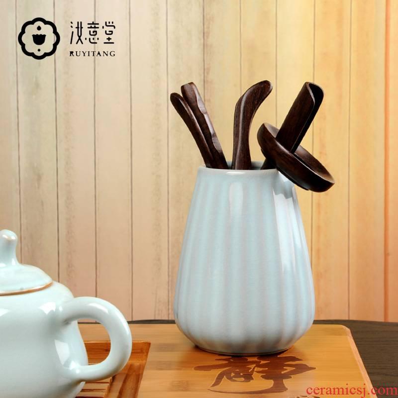 Your up ceramic kung fu tea tea 6 gentleman accessories furnishing articles Your porcelain tea tea tin, tea spoon ChaGa ebony