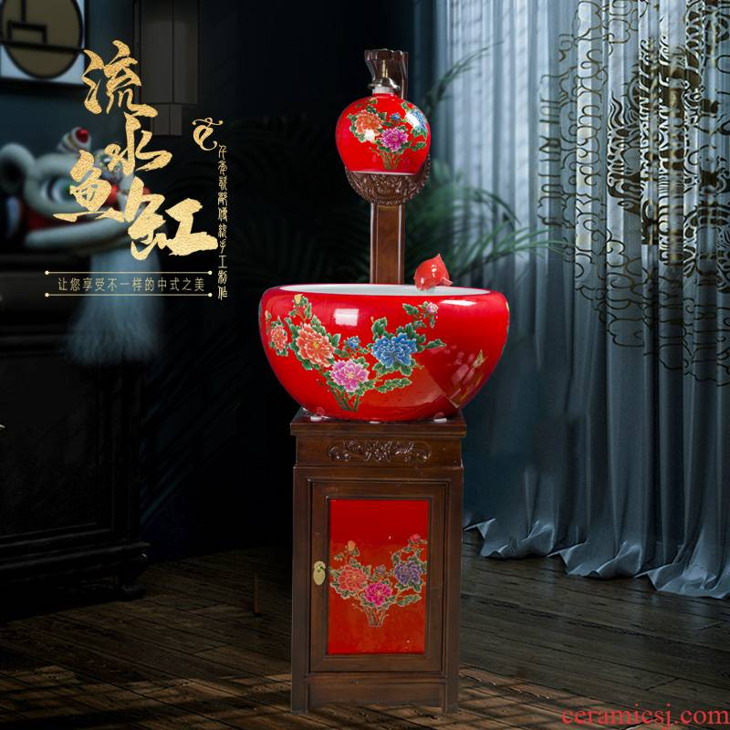 Art soul jingdezhen China red extra - large ceramic sitting room aquarium filter water circulating water goldfish bowl
